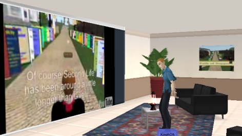 Knoh in Lively looking at Youtube video with Knoh Oh of Second Life