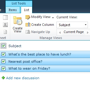 SharePoint List Discussion Board